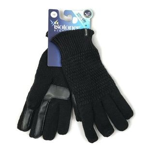 New Isotoner Adults Gloves Black Smart Dry Touch